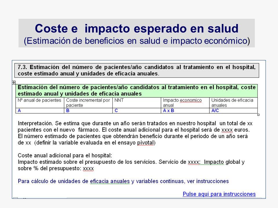 Coste e impacto esperado en salud (Estimación de beneficios en salud e impacto económico)