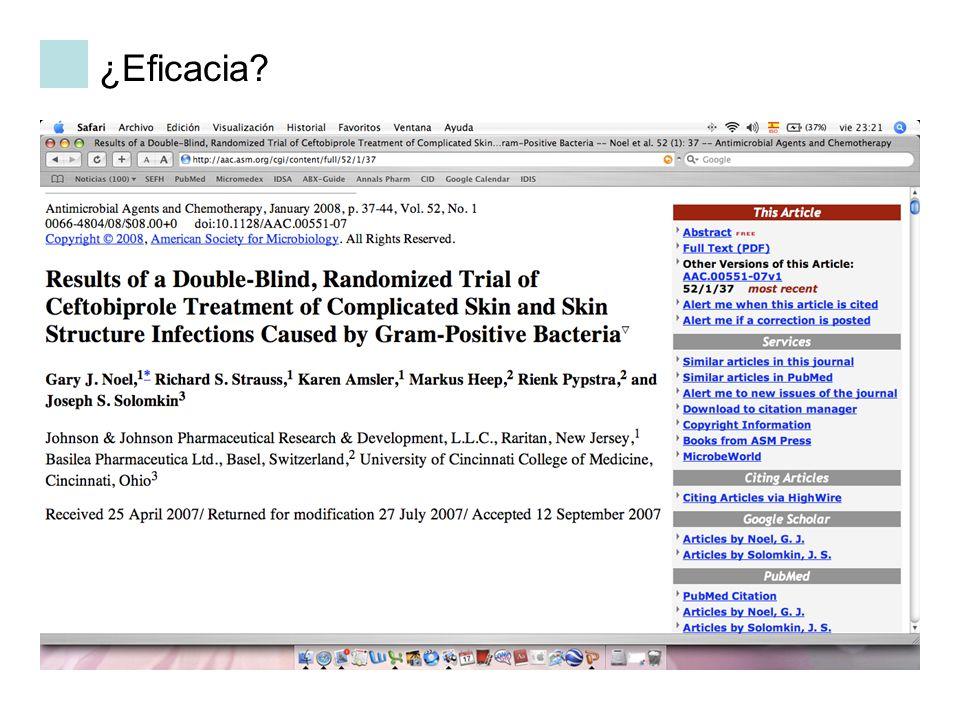 ¿Eficacia Ensayo registro ceftobiprole en infecciónes complicadas piel y parte blandas por gram positivos: