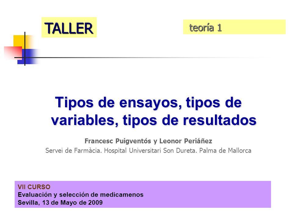 Tipos de ensayos, tipos de variables, tipos de resultados