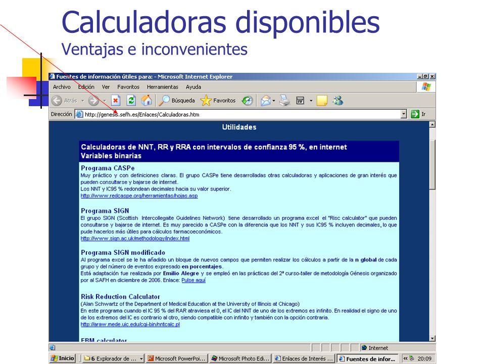 Calculadoras disponibles Ventajas e inconvenientes