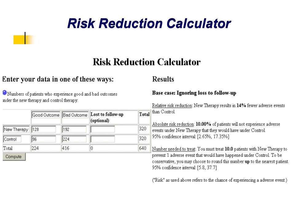 Risk Reduction Calculator