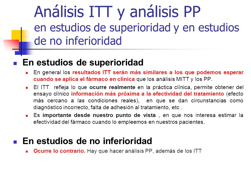 Análisis ITT y análisis PP en estudios de superioridad y en estudios de no inferioridad