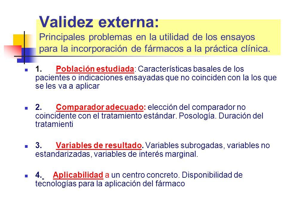 Validez externa: Principales problemas en la utilidad de los ensayos para la incorporación de fármacos a la práctica clínica.