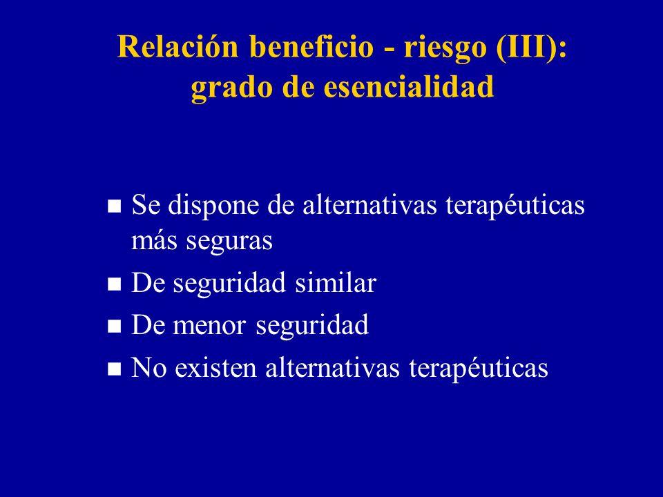 Relación beneficio - riesgo (III): grado de esencialidad