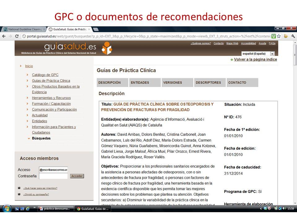 GPC o documentos de recomendaciones