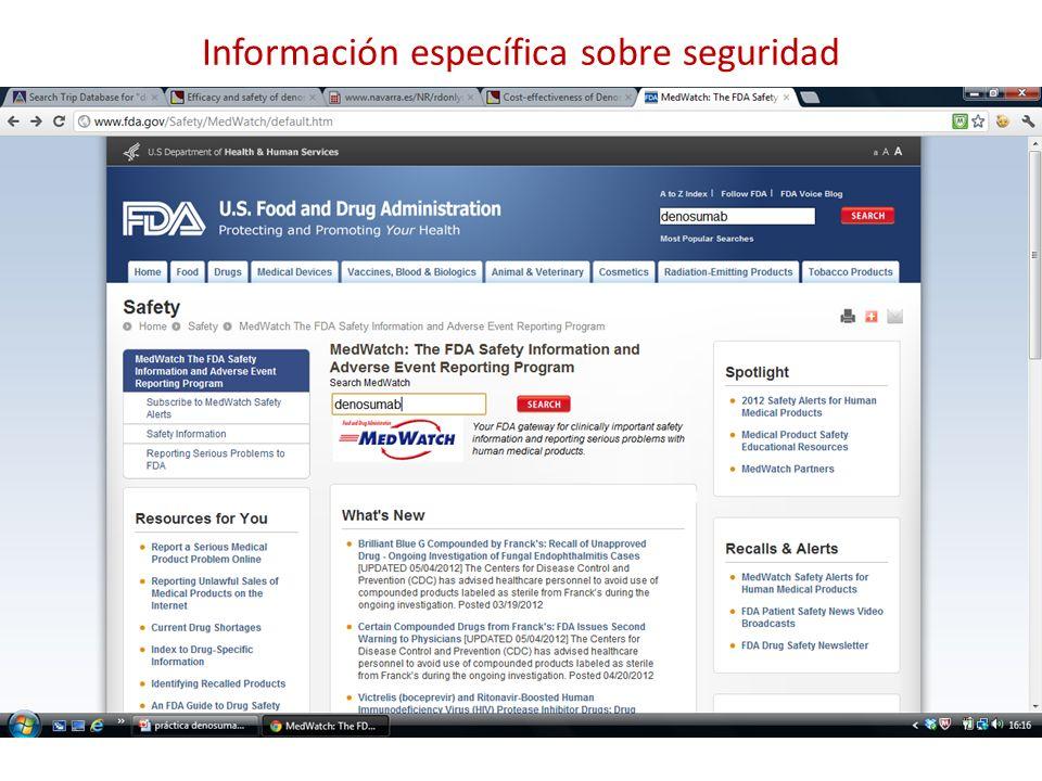Información específica sobre seguridad