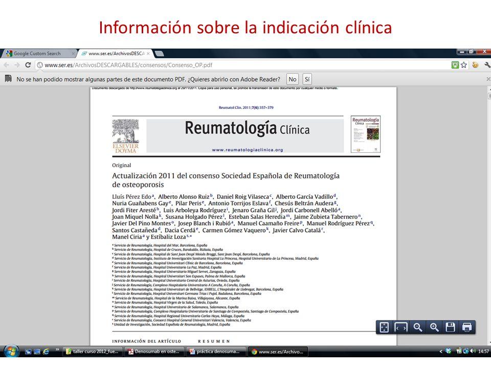 Información sobre la indicación clínica