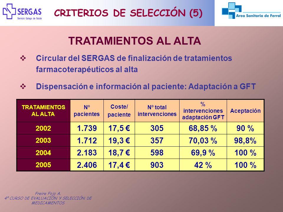 TRATAMIENTOS AL ALTA CRITERIOS DE SELECCIÓN (5)
