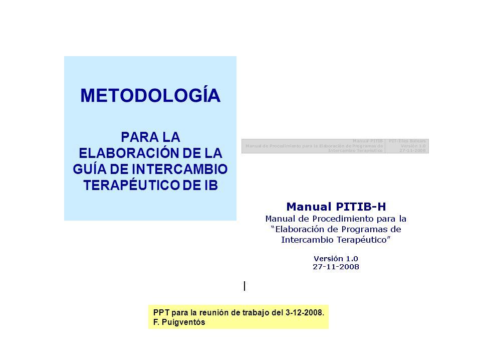 METODOLOGÍA PARA LA ELABORACIÓN DE LA GUÍA DE INTERCAMBIO TERAPÉUTICO DE IB
