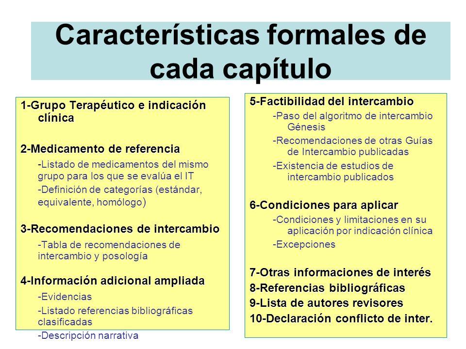 Características formales de cada capítulo