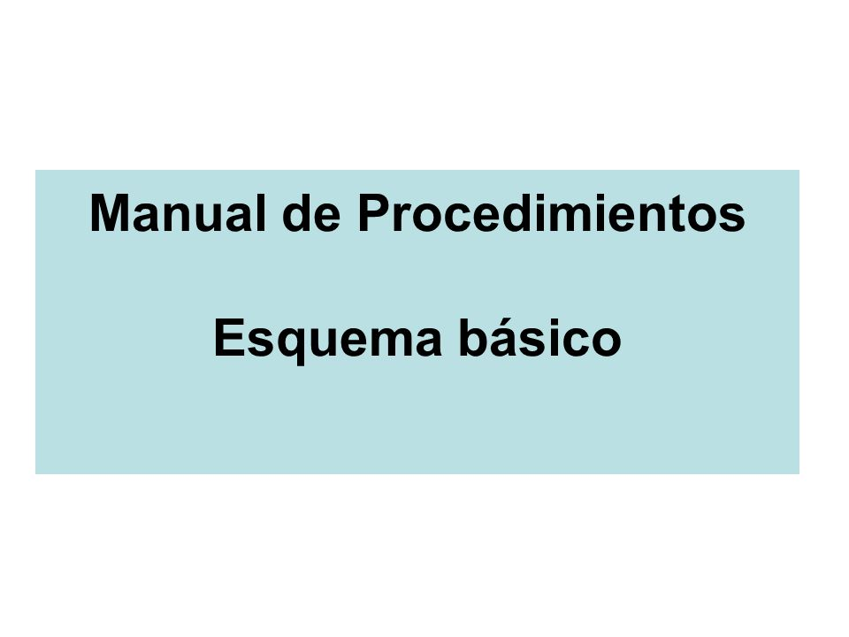 Manual de Procedimientos Esquema básico