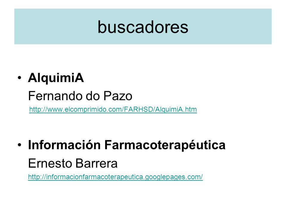 buscadores AlquimiA Fernando do Pazo Información Farmacoterapéutica
