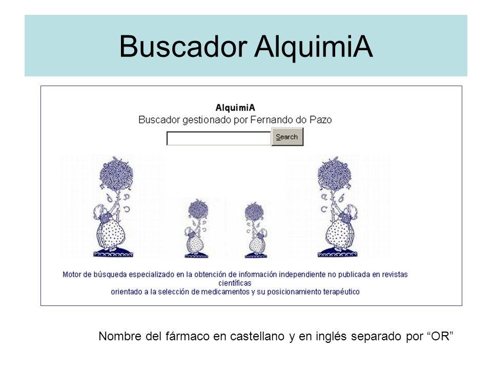 Buscador AlquimiA Nombre del fármaco en castellano y en inglés separado por OR