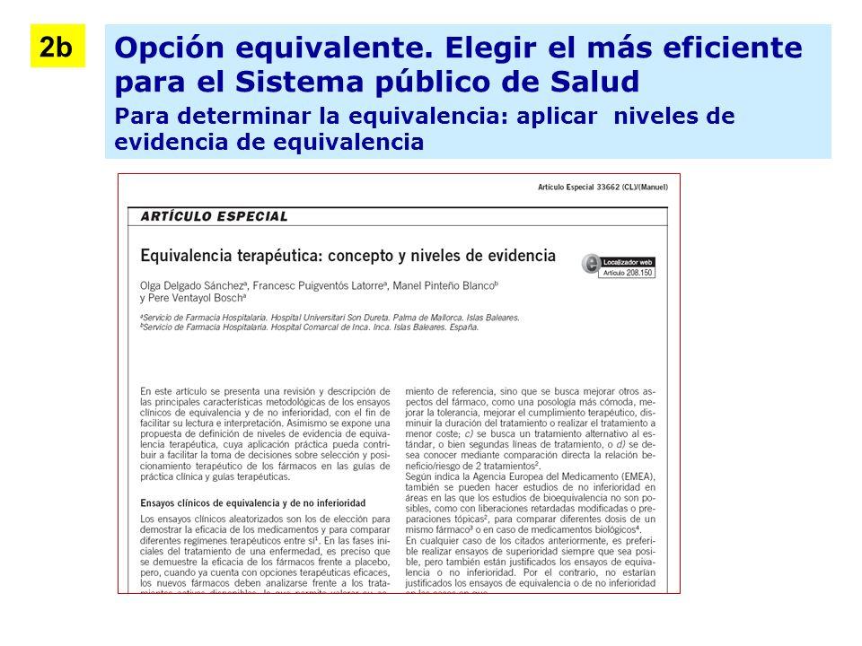 2b Opción equivalente. Elegir el más eficiente para el Sistema público de Salud.