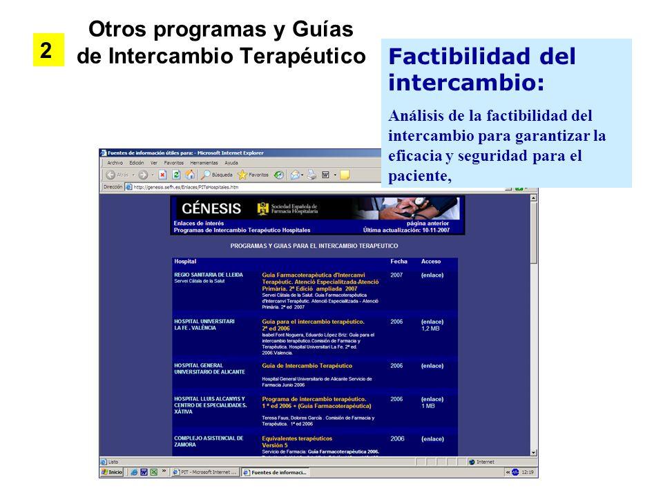 Otros programas y Guías de Intercambio Terapéutico