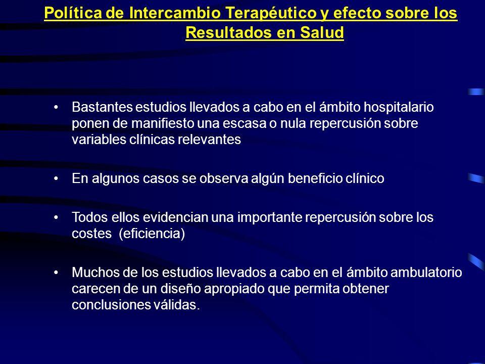 Política de Intercambio Terapéutico y efecto sobre los Resultados en Salud
