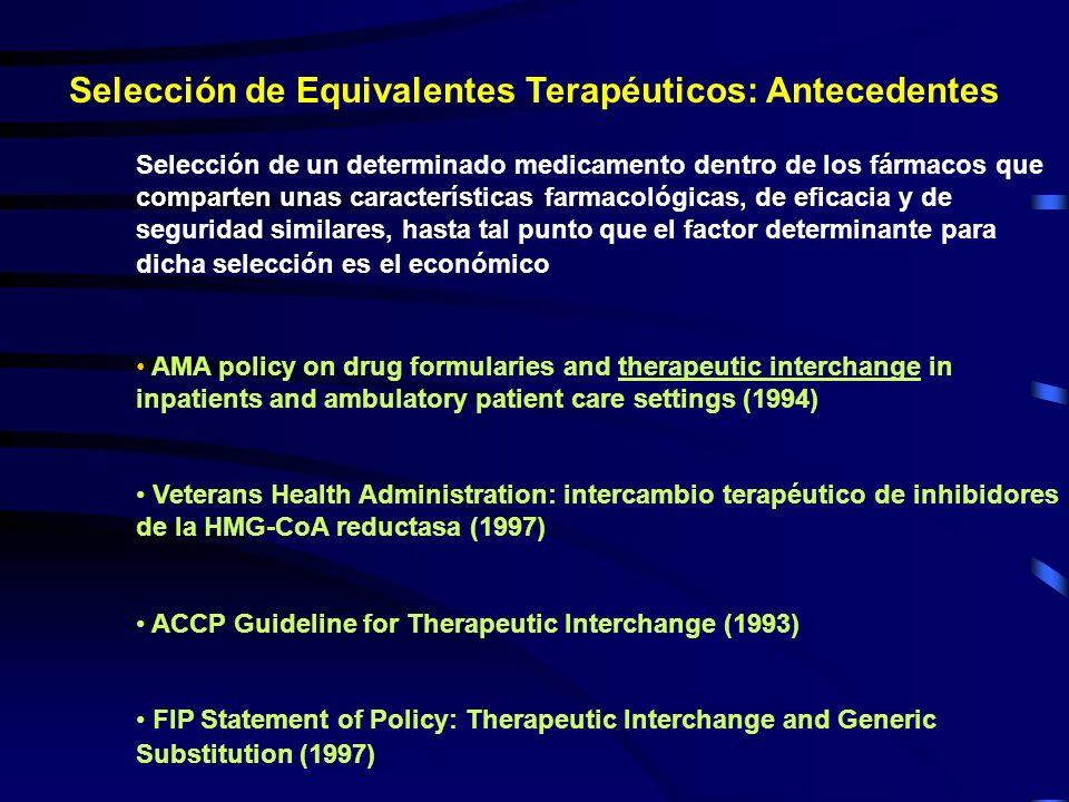Selección de Equivalentes Terapéuticos: Antecedentes