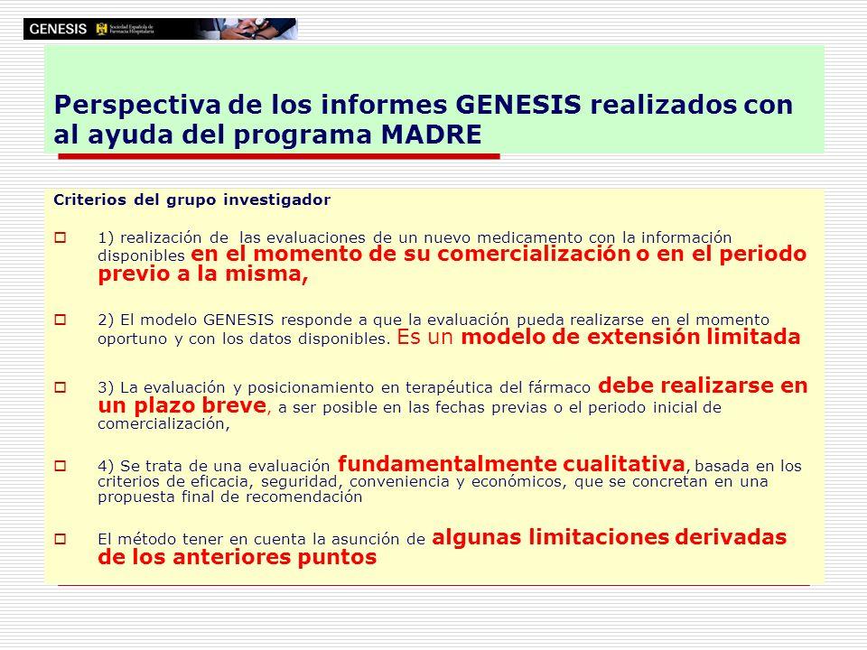 Perspectiva de los informes GENESIS realizados con al ayuda del programa MADRE