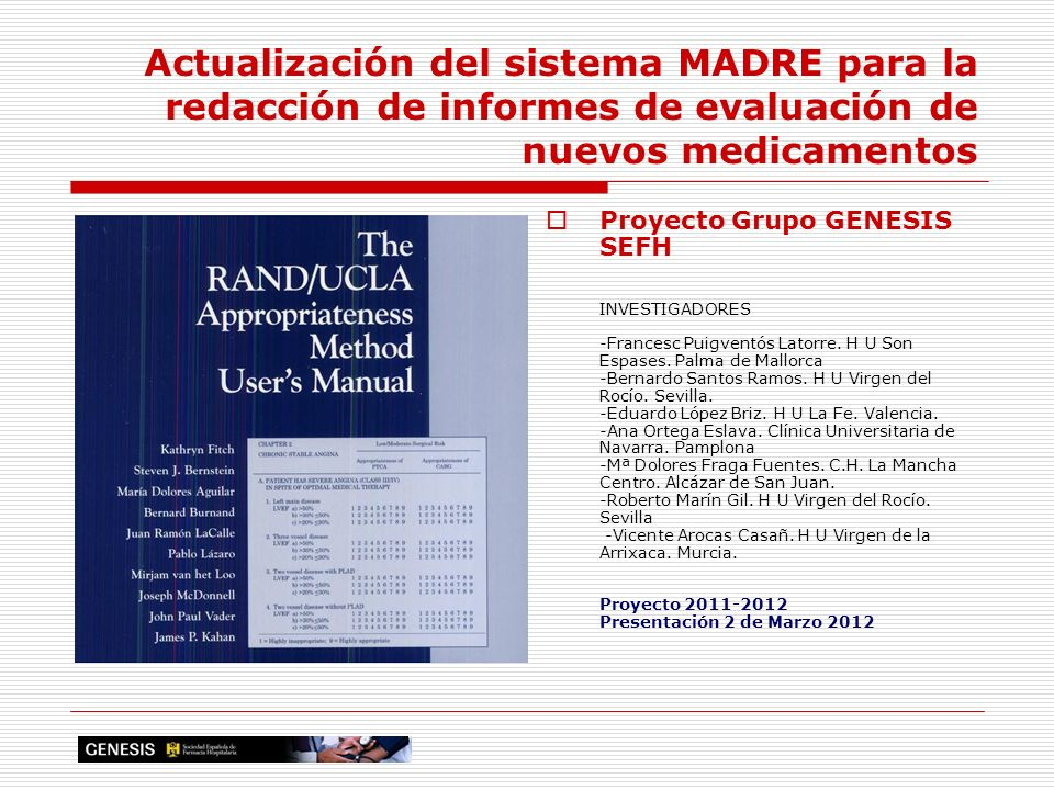 Actualización del sistema MADRE para la redacción de informes de evaluación de nuevos medicamentos