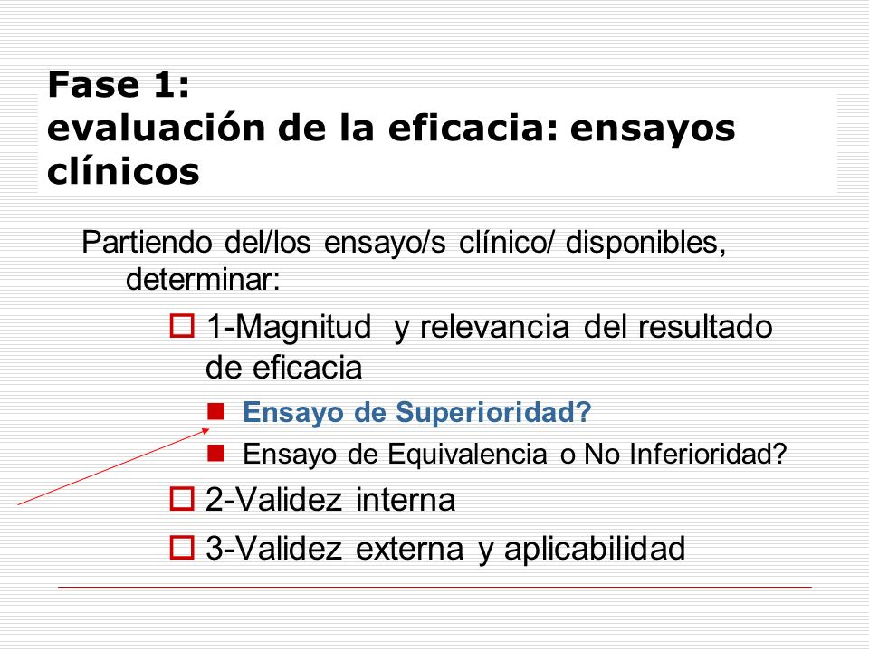 Fase 1: evaluación de la eficacia: ensayos clínicos