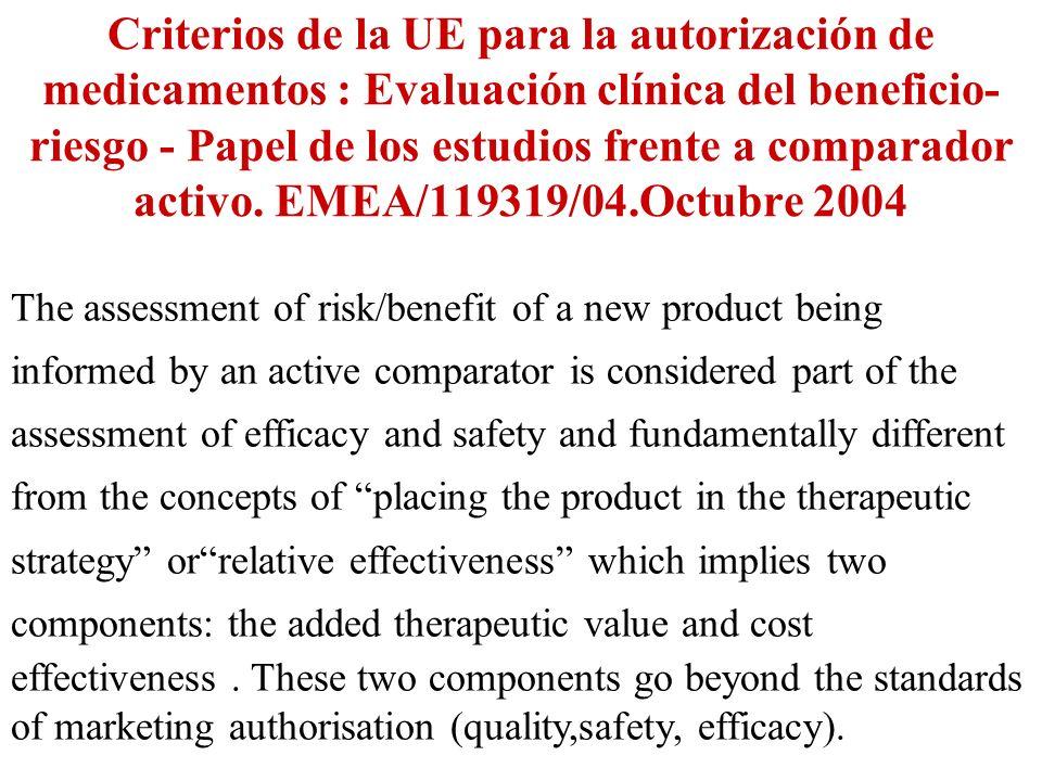 Criterios de la UE para la autorización de medicamentos : Evaluación clínica del beneficio-riesgo - Papel de los estudios frente a comparador activo. EMEA/119319/04.Octubre 2004