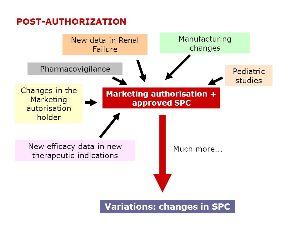 Marketing authorisation + approved SPC Variations: changes in SPC