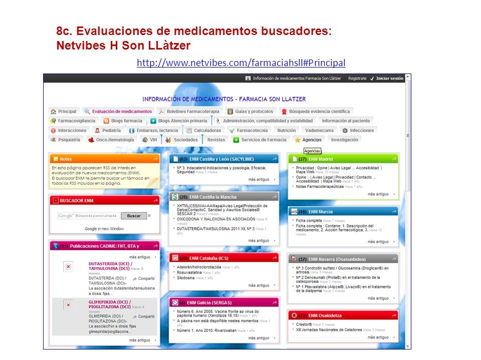 8c. Evaluaciones de medicamentos buscadores: Netvibes H Son LLàtzer