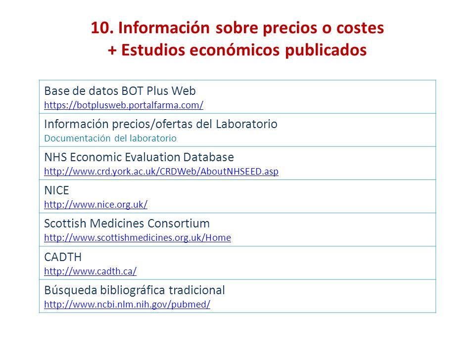 10. Información sobre precios o costes