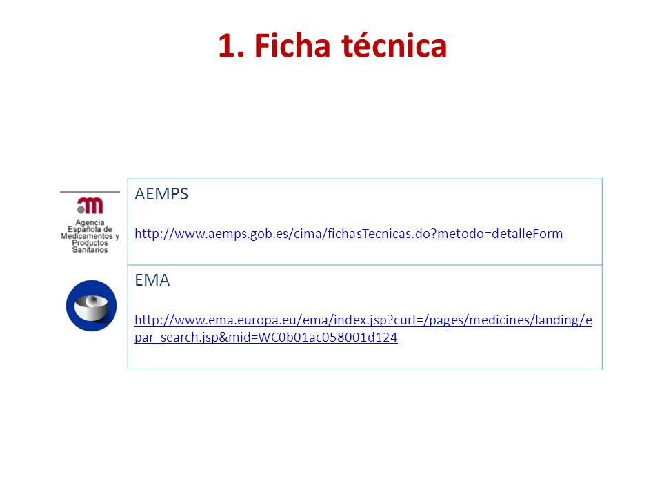 1. Ficha técnica AEMPS EMA