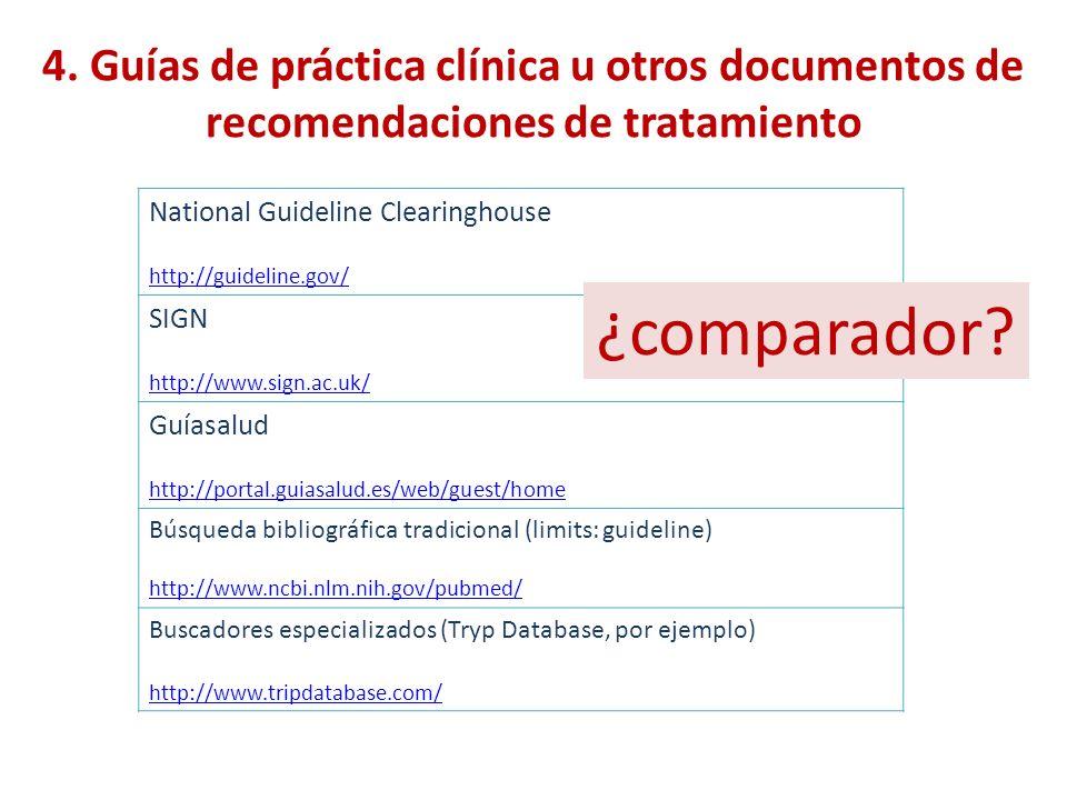 4. Guías de práctica clínica u otros documentos de recomendaciones de tratamiento
