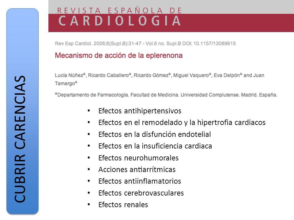 CUBRIR CARENCIAS Efectos antihipertensivos
