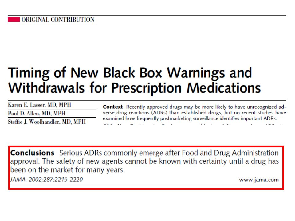 56 (10. 2%) acquired a new black box warning or were withdrawn