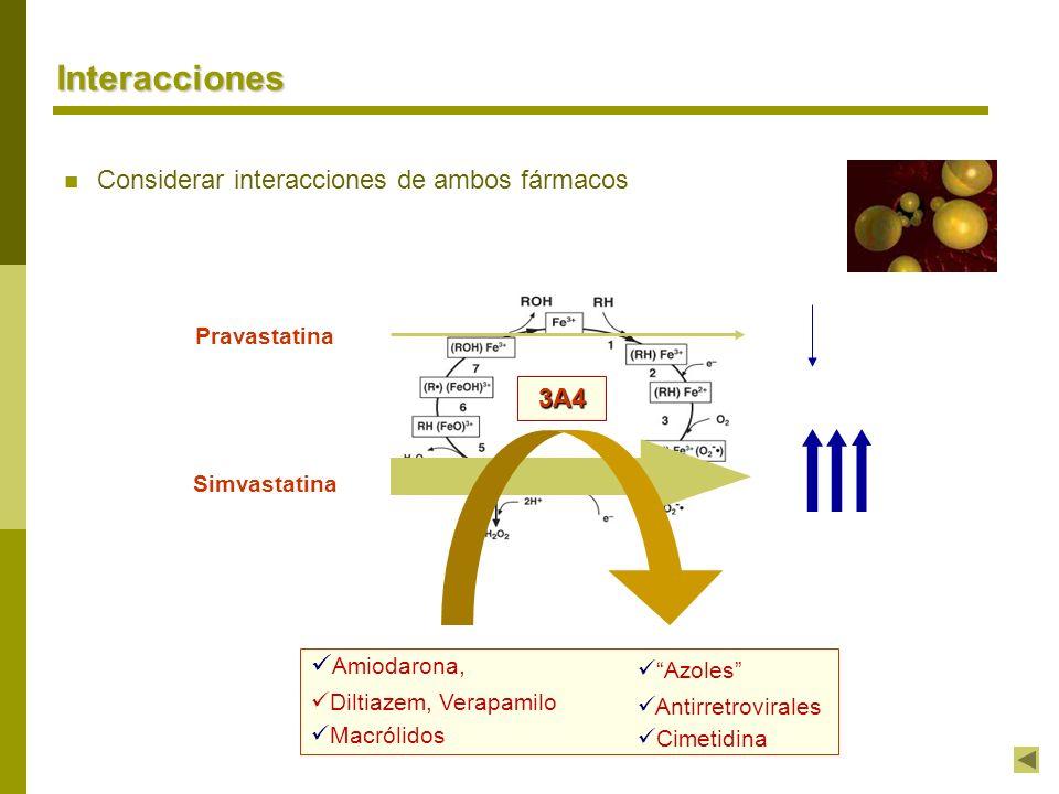Interacciones Considerar interacciones de ambos fármacos 3A4