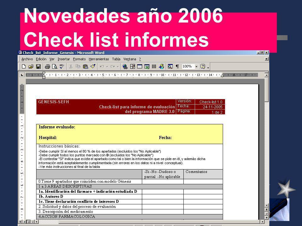 Novedades año 2006 Check list informes