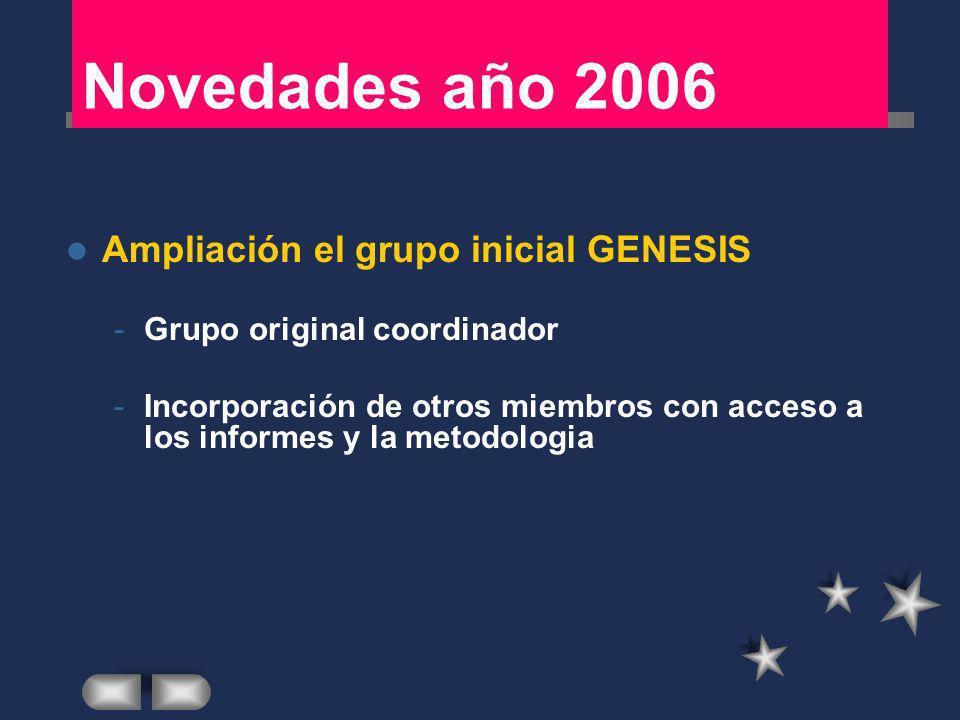 Novedades año 2006 Ampliación el grupo inicial GENESIS