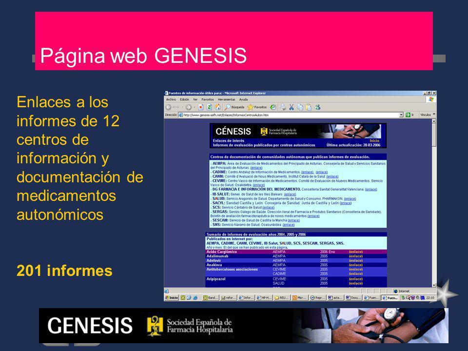 Página web GENESIS Enlaces a los informes de 12 centros de información y documentación de medicamentos autonómicos.