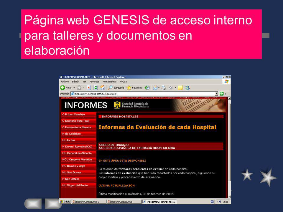 Página web GENESIS de acceso interno para talleres y documentos en elaboración