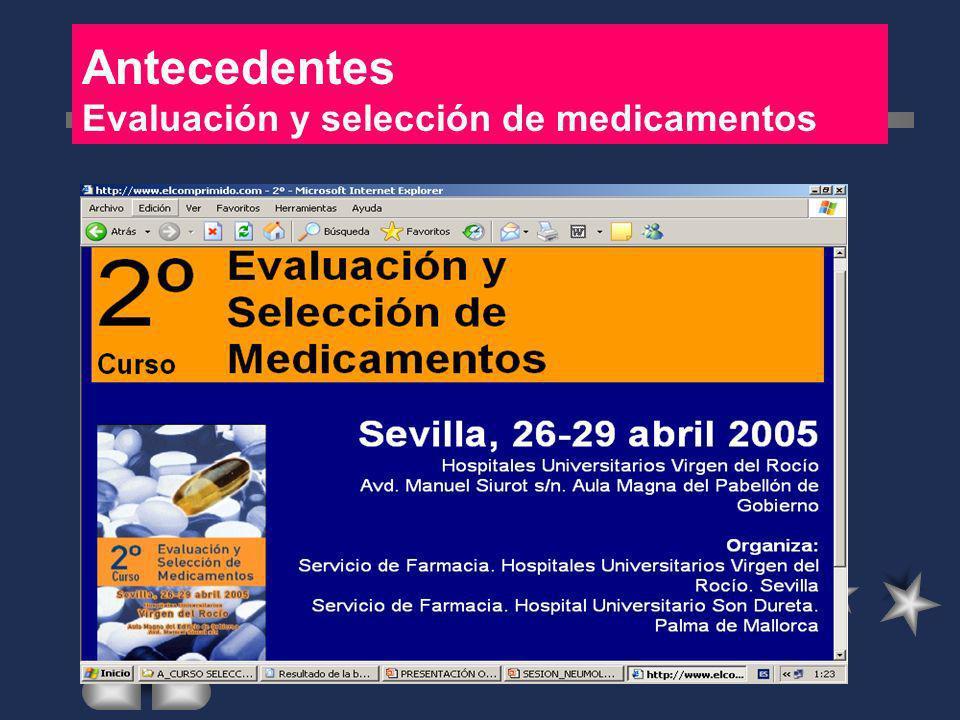 Antecedentes Evaluación y selección de medicamentos