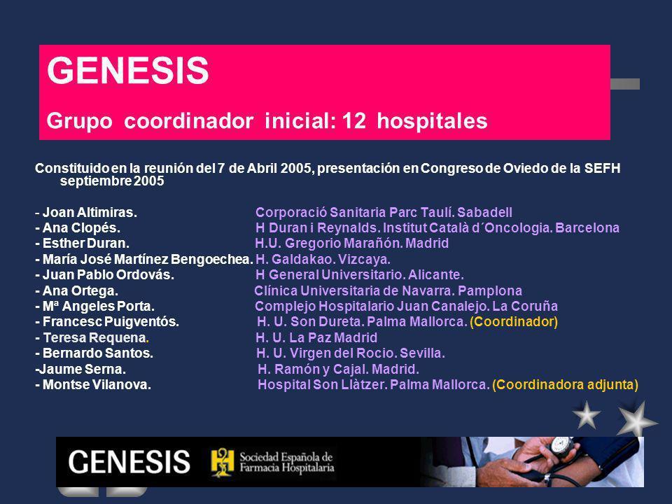 GENESIS Grupo coordinador inicial: 12 hospitales