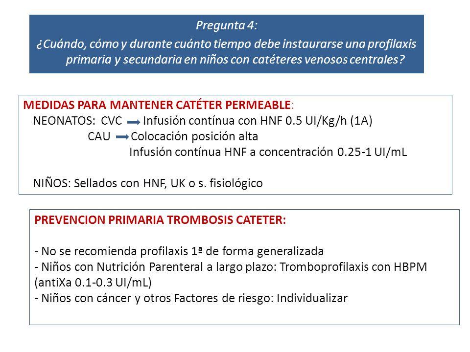 Pregunta 4: ¿Cuándo, cómo y durante cuánto tiempo debe instaurarse una profilaxis primaria y secundaria en niños con catéteres venosos centrales