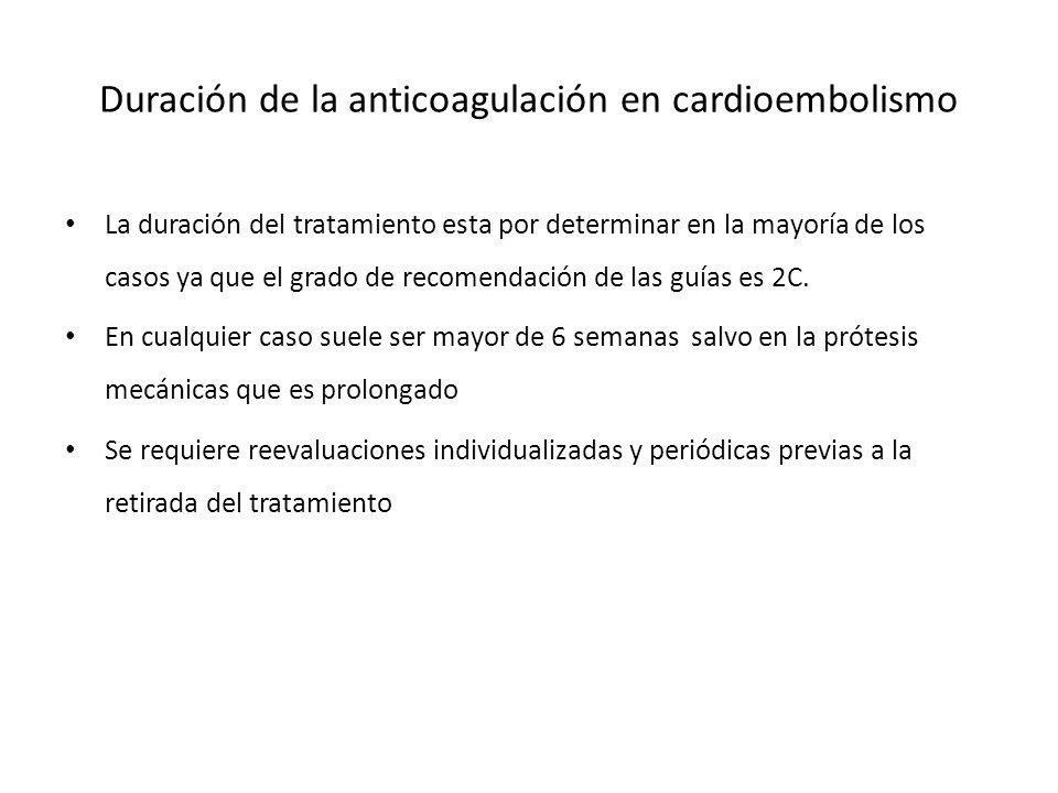 Duración de la anticoagulación en cardioembolismo