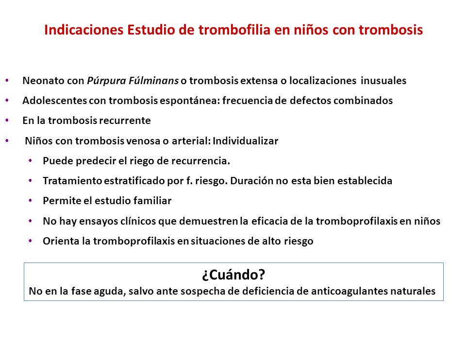 Indicaciones Estudio de trombofilia en niños con trombosis