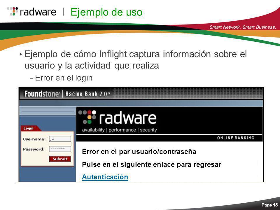 Ejemplo de usoEjemplo de cómo Inflight captura información sobre el usuario y la actividad que realiza.