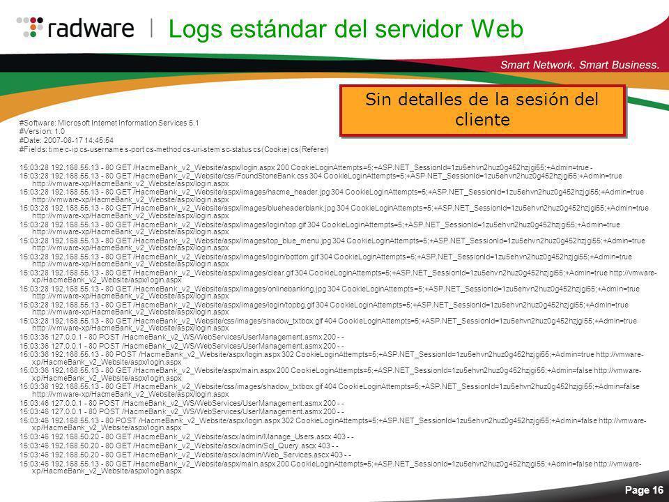 Logs estándar del servidor Web