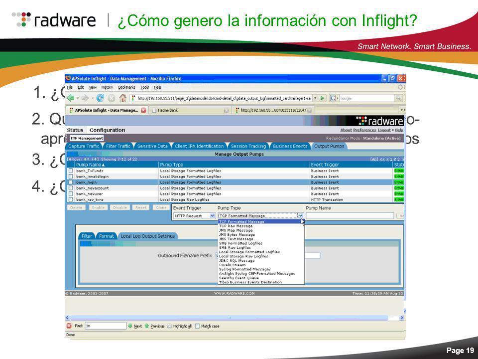 ¿Cómo genero la información con Inflight