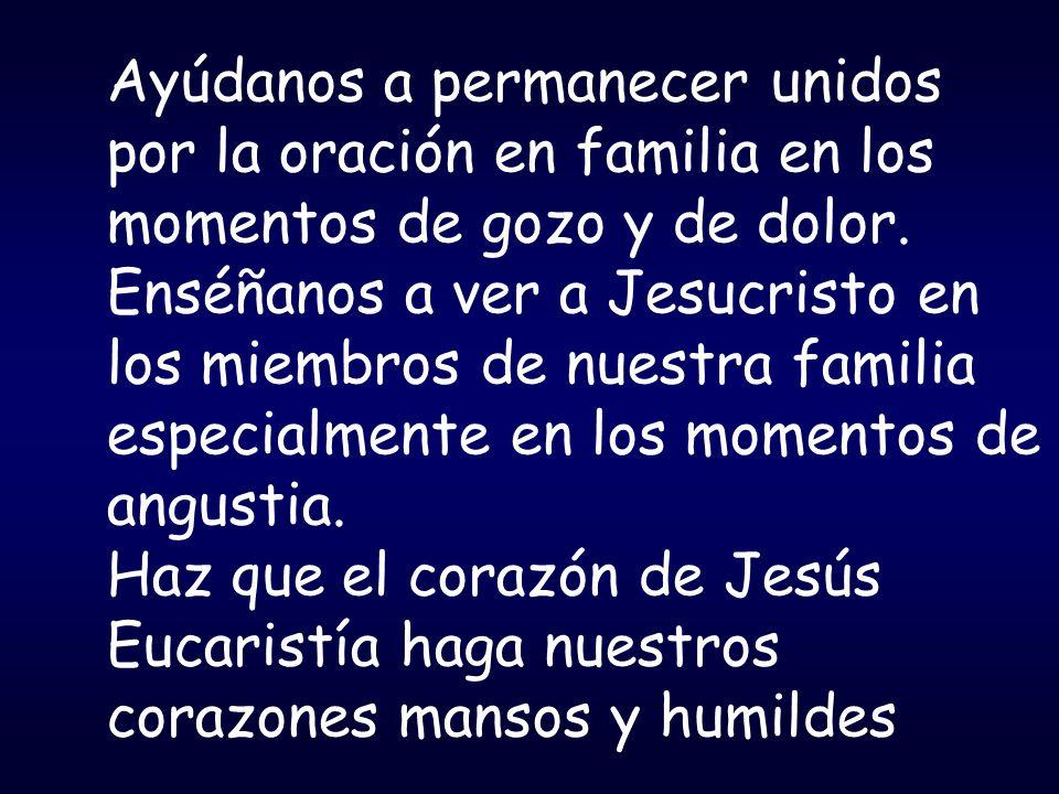 Ayúdanos a permanecer unidos por la oración en familia en los momentos de gozo y de dolor. Enséñanos a ver a Jesucristo en los miembros de nuestra familia especialmente en los momentos de angustia.
