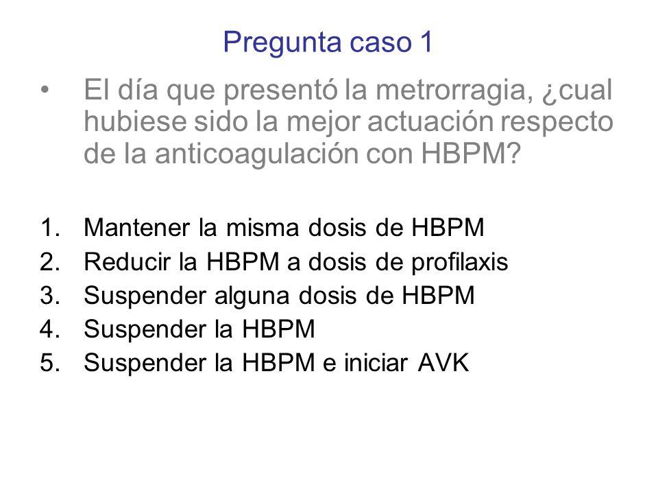 Pregunta caso 1 El día que presentó la metrorragia, ¿cual hubiese sido la mejor actuación respecto de la anticoagulación con HBPM