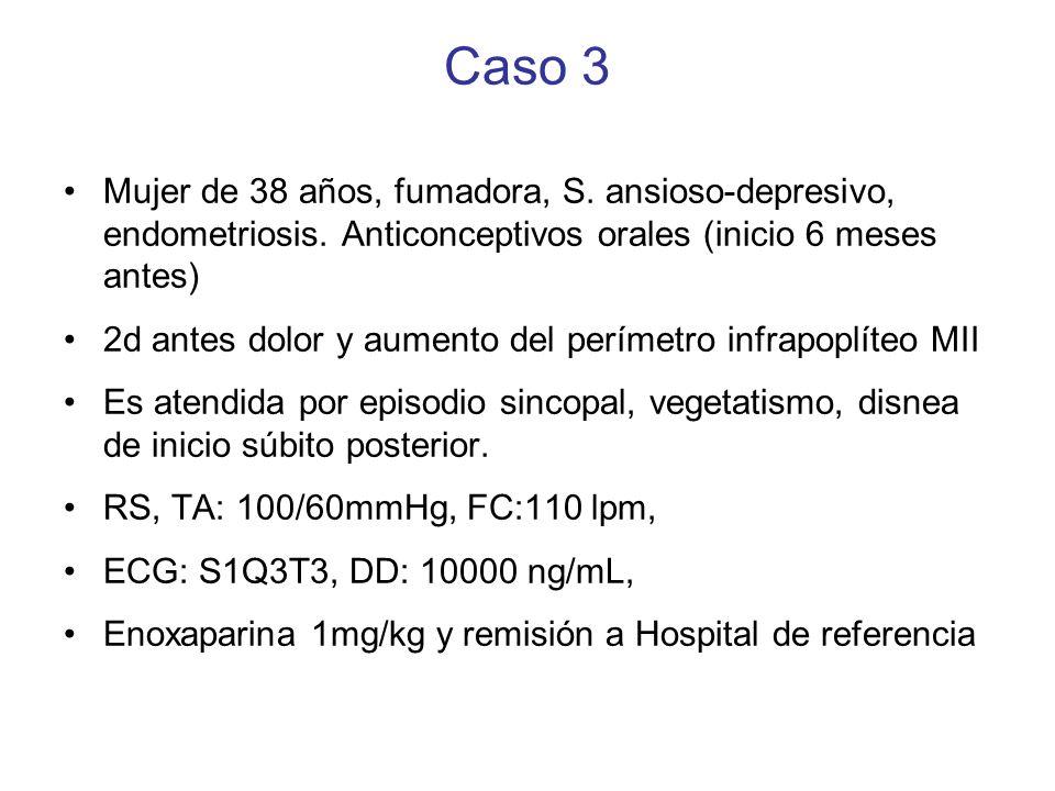 Caso 3Mujer de 38 años, fumadora, S. ansioso-depresivo, endometriosis. Anticonceptivos orales (inicio 6 meses antes)