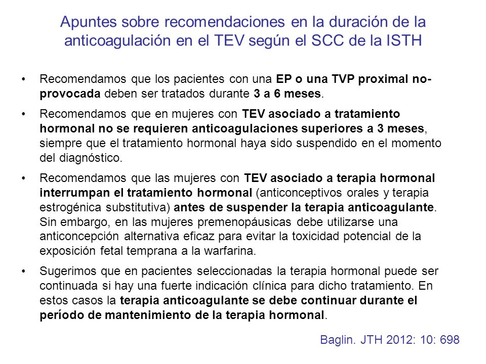 Apuntes sobre recomendaciones en la duración de la anticoagulación en el TEV según el SCC de la ISTH