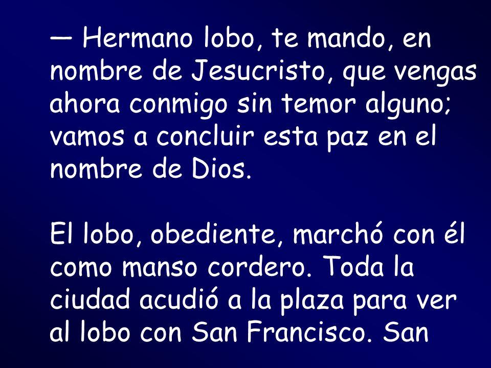 — Hermano lobo, te mando, en nombre de Jesucristo, que vengas ahora conmigo sin temor alguno; vamos a concluir esta paz en el nombre de Dios.